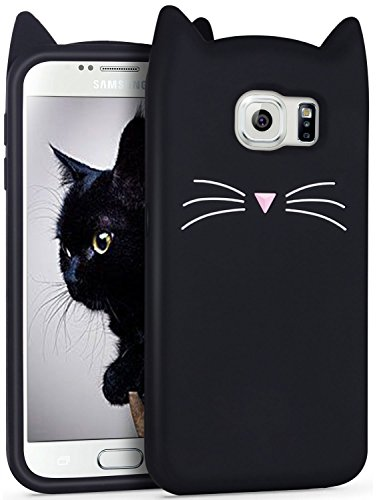 Mulafnxal Case for Samsung Galaxy S7, Soft Silicone 3D Cartoon Animal Cat Slim Cover, Cute Cases Kids Girls Shock Proof Rubber Gel Kawaii Character Fashion Protector for Samsung S7 Black Cat