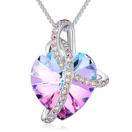 PLATO H Wrapped Heart Crystals Necklace for Women Girl Pendant with Exquisite Gift Box Dainty Jewelry Anniversary Mothers Day Gifts for her