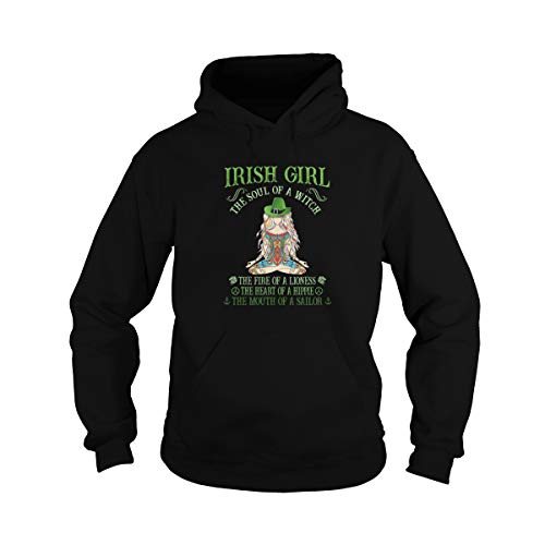 Zoko Apparel Irish Girl The Soul of A Witch The Fire of A Lioness The Heart of A Hippie The Mouth of A Sailor Vintage Unisex camisa