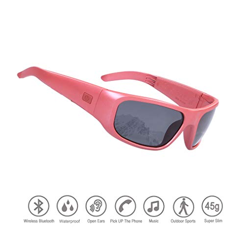 Waterproof Bluetooth Sunglasses,Open Ear Wireless Sunglasses with Polarized UV400 Protection Safety Lenses,Unisex Design Headset for All Smart Phones (Red Frame Smoke Polarized Lens)