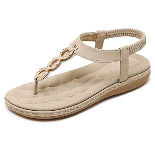 Btrada Women's Casual Sandals Comfort Flip Flops Fashion Rhinestone Crystal Bohemian Flat Sandals Elastic Band Thong Shoes Beige