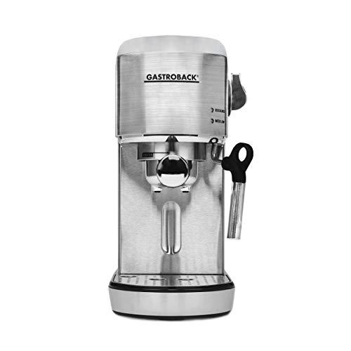 Gastroback 42716 Design Espresso Piccolo, Espressomaschine mit Milchaufschäumdüse, 19 bar Pumpendruck, schnelles Aufheizen (40 Sekunden), Edelstahl, 1.4 liters