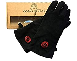 WOOD BURNING STOVE GLOVES - BLACK- 100% GENUINE LEATHER