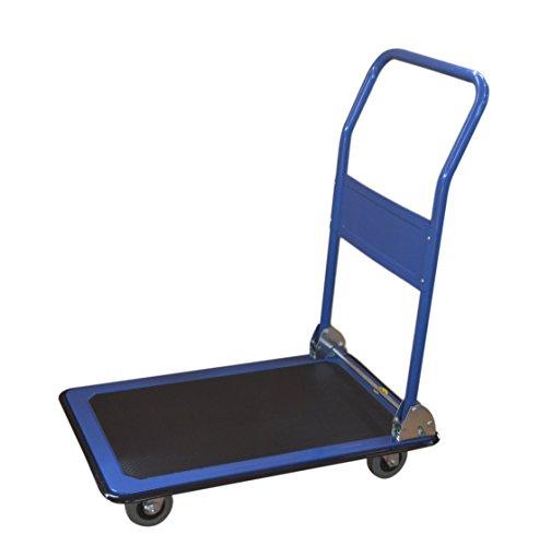 T-EQUIP PFW-150 - Carretilla de plataforma, carro manual y plegable, 150 kg de capacidad de carga, AnxPxAl: 78 x 50 x 90 cm, asa plegable, alfombrilla antideslizante