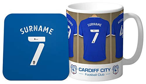 Personalised Cardiff City FC Dressing Room Shirts Mug & Coaster Set