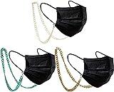 MOYAN 3 piezas Colgante de Doble Uso para Llevar la Mascarilla o las Gafas,Cadena para gafas de sol, gafas de lectura, colgante, para mujeres y hombres