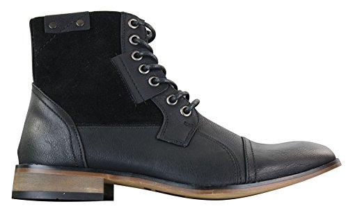 Bottines homme rétro vintage urbain simili cuir et daim avec lacets style chic décontracté
