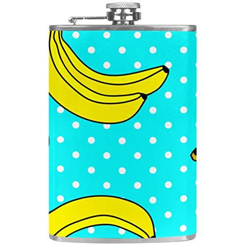 Petacas de Alcohol Plátano Azul Lunares Petacas de Licor Acero Inoxidable 227ml Frasco de Whisky Botella de bolsillo Con embudo 9.2x15cm