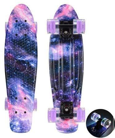 ZXL Mini-Skateboard, tragbare Cruiser-Komplettbretter, Penny Board, 22-Zoll-Retro-Longboard, LED-Skateboards, Outdoor Fish Street, kleines Fischbrett, für Jungen/Mädchen,Schwarz