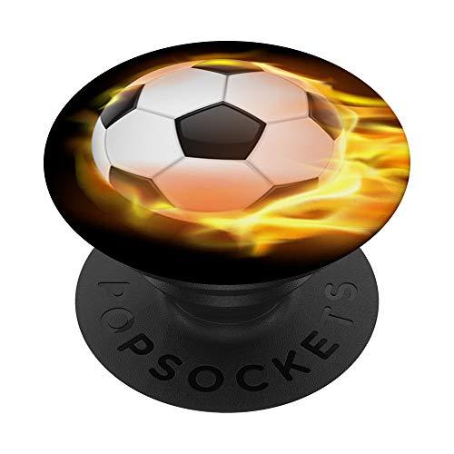 Balón de Fútbol Volador en Llamas Fuego PopSockets PopGrip: Agarre intercambiable para Teléfonos y Tabletas