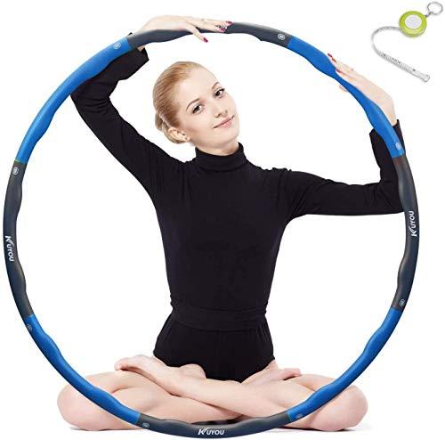 Hoola Hoop Fitness zur Gewichtsreduktion,Reifen mit Schaumstoff ca 1 kg Gewichten Einstellbar Breit 48–88 cm beschwerter Hula-Hoop-Reifen für Fitness (4 Knoten Grün + Grau) mit Mini Bandmaß (Blau)