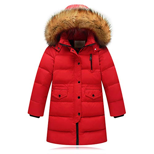 Riou Kinder Baby Lang Daunenjacke mit Pelz Ultraleicht Wintermantel Winter Warme Jungen Mädchen Jacke mit Kapuze Hochwertig Schön Parka Mantel (150, Rot)