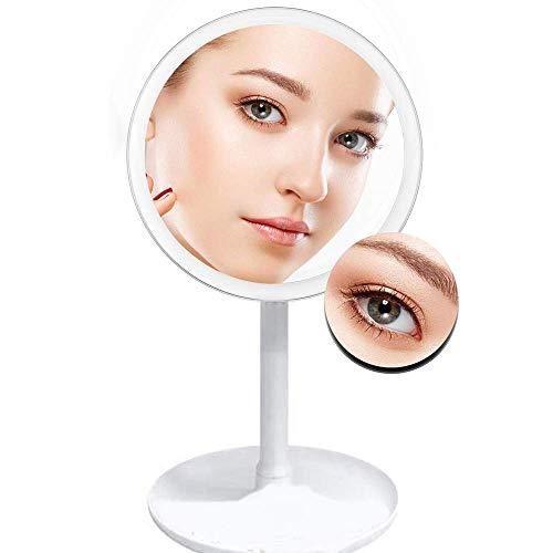 Espejo de Aumento con Luces, Espejo de Maquillaje Iluminado con Aumento de 5X, Espejo de vanidad con Luces, 3 configuraciones de iluminación Diferentes, con Ventilador para calmarte en el Maqu