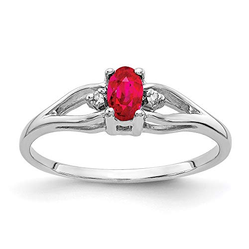 14ct White Gold 5x3mm Oval Ruby and Diamond Ring, Size M