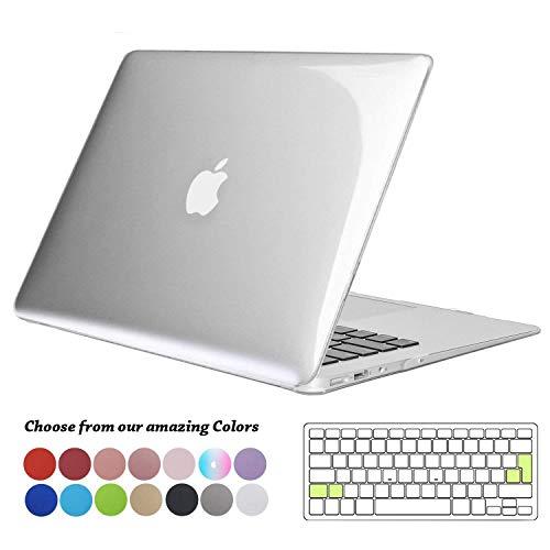 TECOOL Custodia MacBook Air 13 Case, Plastica Case Cover Rigida Copertina con Copertura Della Tastiera in silicone per 2010-2017 MacBook Air 13.3 Pollici (Modello: A1466 / A1369) - Cristallo Chiara