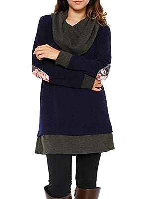 Eytino Women Cowl Neck Tops Long Sleeve Plaid Elbow Patch Casual Loose Tunic Mini Dress(S-XXL)