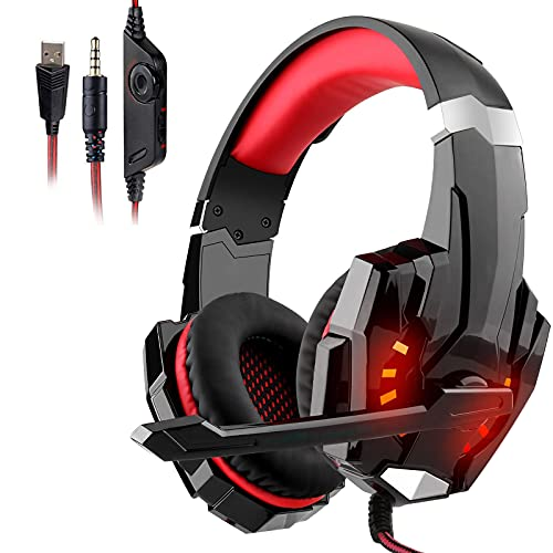 GALOPAR Stereo Gaming Headset for PC, PS4, Xbox One, 3D Surround Sound Headset with Noise Canceling Mic LED Light, Over-Ear Headphones Compatible with PS4, Xbox One, Switch, PC, Mac, Laptop