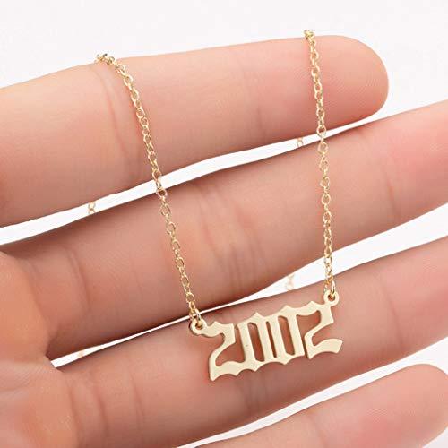 Janly - Collar para mujer, regalo de cumpleaños, collar personalizado con número de años de oro, 2000 – 2009 Pendan Día de San Valentín, color, talla L