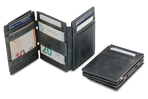 Portafoglio Garzini Magic in vera pelle pratico e spazioso da uomo con sistema di blocco RFID, tasca per carta d'identità e portamonete