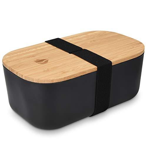 Navaris Bento Box Lunchbox mit Bambus Deckel - Brotdose 1 Fach 1100ml luftdicht - Brotbox für Kinder und Erwachsene - Gummiband Verschluss - Schwarz