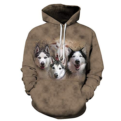 HUIYIYANG Tees Unisex Novelty 3D Graphic Color Galaxy/Husky Dog Pullover Hoodies Casual Long Sleeve Hooded Sweatshirt with Pockets for Herren Damen Lms1001 6XL