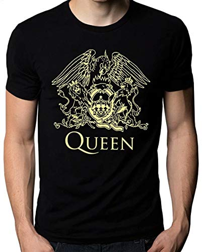 Mannen Print shirt Cotton T shirt Queen Band Rock Music Logo Men's T-Shirt Black