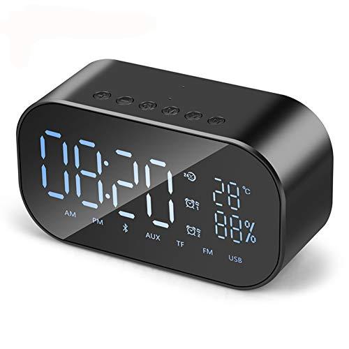 LZJZ Altavoz Bluetooth Radio Despertador LED Espejo Escritorio Caja de Metal Dormitorio Dormitorio en casa Habitación Doble Reloj Despertador,Black