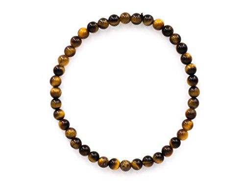 Taddart Minerals – Bracciale giallo marrone in gemma naturale occhio di tigre, con sfere da 4 mm su filo di nylon elastico, realizzato a mano