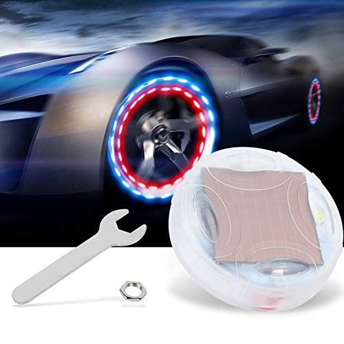 Car Tire Wheel Lights 4PCS Solar Energy Motorcycle Bike Car Wheel Tire Tyre Valve Cap LED Strobe Flash Light Lamp for Car Motorcycles Bicycles Accessories
