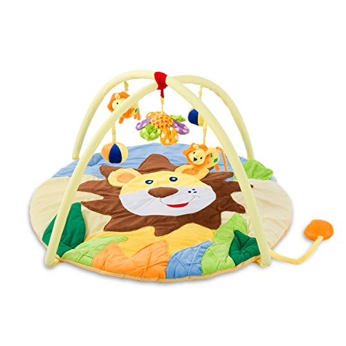 SONARIN Lindo León Alfombras de juego Gimnasio de Actividades Baby Play Mat & Activity Gym Colorido e interactivo(Amarillo)
