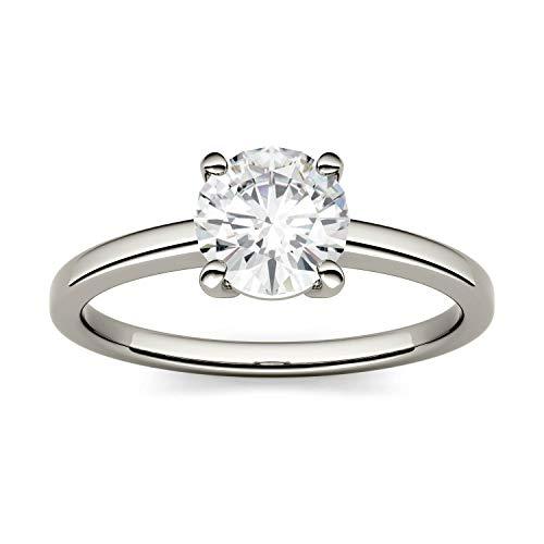 Charles & Colvard Forever One anillo de compromiso - Oro blanco 14K - Moissanita de 6.5 mm de talla redonda, 1.044 ct. DEW, talla 12
