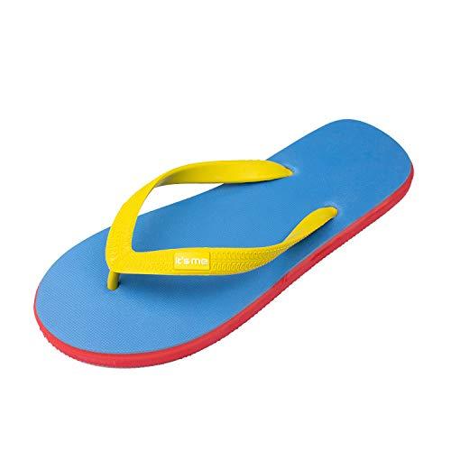 It's me Flip Flops Damen | die weichsten Flip Flops Aller Zeiten | 100% Naturkautschuk | Breiter Stil (1 cm Breiter) | schadstofffrei | 0% PVC, Blau Gelb Rot, 40/41 EU Weit