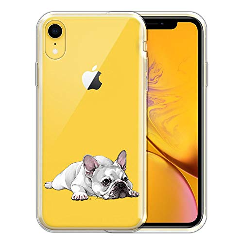 FINCIBO Case Compatible with Apple iPhone XR 6.1 inch, Clear Transparent TPU Silicone Protector Case Cover Soft Gel Skin for iPhone XR - French Bulldog Dog Lying Down Looking Up