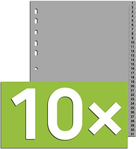 10er Packung Durable Hunke & Jochheim Register 1 - 31, (PP, DIN A4, 215/230 x 297 mm) 31 Blatt grau (10, Register 1 - 31)