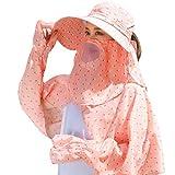 New Trend - Sombrero de verano para mujer, a prueba de polvo, de ala ancha, con estampado de lunares,...