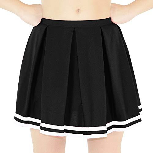 Danzcue Falda de uniforme de porrista plisada para niños, Negro/Blanco, Large