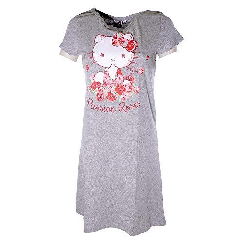 Nachthemd Damen lang Disney Hello Kitty Schlafhemd Baumwolle T-Shirt grau (S)