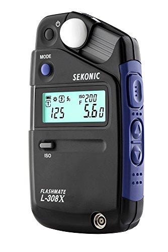 Sekonic FLASHMATE L-308X Belichtungsmessgerät für Fotografen und Filme, Schwarz/Blau