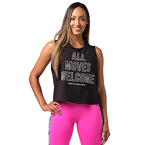 Zumba Fitness Zumba Activewear Sexy Tops Women Fitness Workout Graphic Print Cropped Tank Top Camiseta, Black Welcome, XX-Large para Mujer