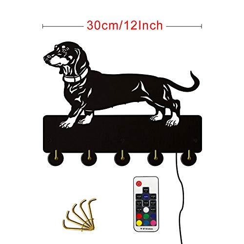 WANDOM Perro salchicha montado en la pared perchero de madera antiguo salchicha perro decoración de la pared percha multifuncional llave