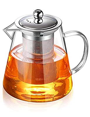 32oz / 950ml Glass Teapot With Removable Infuser, Flower Tea Kettle Stovetop Safe, Blooming and Loose Leaf Tea Pot