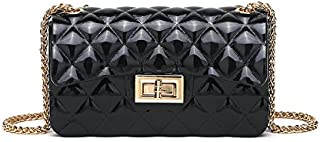 Leather New Women's Shoulder Wallet Small Fragrance Rhombic Chain Wallet Scrub Jelly Wallet Wild Messenger Wallet Female Mini Wallet Waterproof (Color : Black, Size : S)