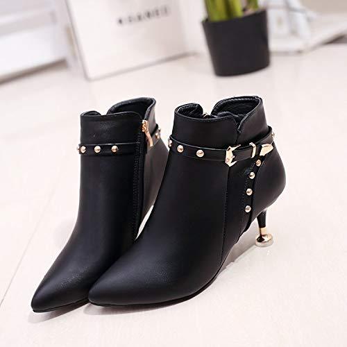 Shukun enkellaarsjes wijnglazen van hoge hakkige vrouwen met herfst- en winter-zwartpersoonlijkheidslaarzen vrouwen dun met kanten mode-laarzen