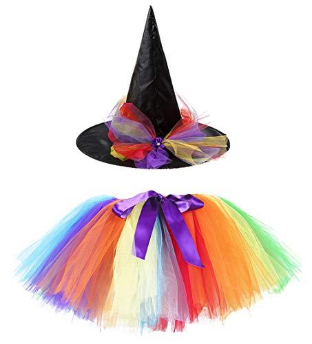 Kiniris Kostüm Halloween Hexe Tutu Kind Mädchen/Damen Rock Tüll Bunte Fliege Kostüm Mit Kapuze Schwarz Cosplay (Regenbogen, 4-7 Jahre)