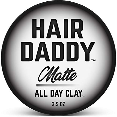 HAIR DADDY All Day Clay, Matte Hair Styling Paste For Men, Strong Hold That Lasts All Day, Zero Shine Clay Paste For All Hair Types