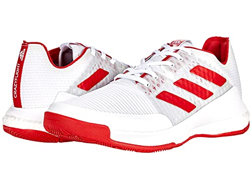adidas Women's Crazyflight Volleyball Shoes, White/Team College Red/White, 9
