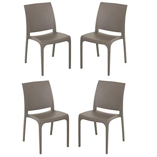 Sedia impilabile in polipropilene moderna per interni ed esterni giardino bar cucina modello Volga (Tortora 4 Sedie)