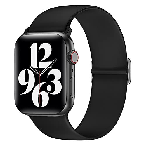 AdirMi Correas deportivas compatibles con Apple Watch Band 38/40 mm 42/44 mm, correa de repuesto de silicona suave, compatible con iWatch Series SE 6, 5, 4, 3, 2, 1, mujeres, hombres, negro, 42/44 mm