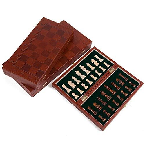 QIFFIY Juego de ajedrez de piel plegable internacional juego de ajedrez juego de mesa de ajedrez portátil juego de mesa (tamaño M: