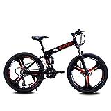 Jieer Bicicleta Montaña Adulto, Bicicleta de Montaña Plegable, Cuadro de Acero de 24'/26' Pulgadas, Cambio de Marchas de 27 Velocidades, Cambio Trasero Tourney, Negro, 24'